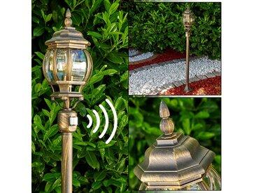 Lentua Außenstehleuchte Braun, Gold, 1-flammig, Bewegungsmelder - Landhaus - Außenbereich - versandfertig innerhalb von 1-2 Werktagen
