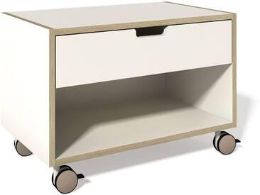 Müller Möbelwerkstätten - Nachttisch - Melamin weiß & Birkenschichtholzkante