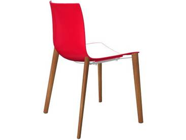 Arper - Catifa 46 Stuhl 0355 - bicolour rot/weiß - Gestell Eiche natur