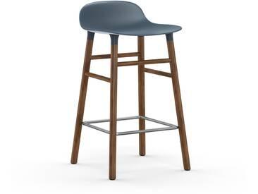 Normann Copenhagen - Form Barstuhl Holzgestell/Metallverstrebung - 65 cm - blau - Walnuss