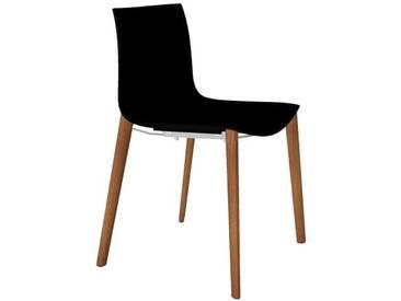 Arper - Catifa 46 Stuhl 0355 - einfarbig schwarz - Gestell Eiche natur
