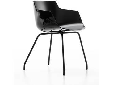 MDF Italia - Flow Slim Armlehnstuhl 4 Fußgestell - schwarz - Gestell graphitgrau