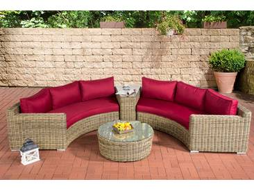 Lounge Set Barbados-rund/natura-Rubinrot