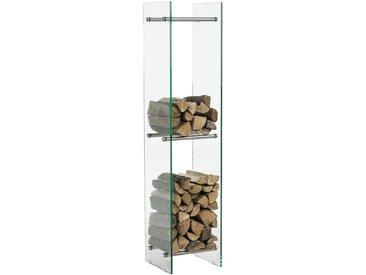 Kaminholzständer Dacio Klarglas-edelstahl-35x50x140 cm