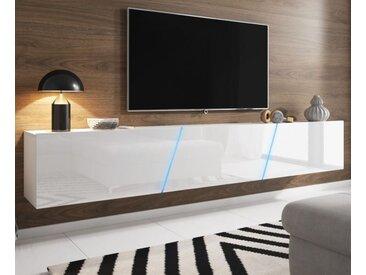 TV Lowboard Space Hochglanz weiß XXL-Board 240 cm mit LED