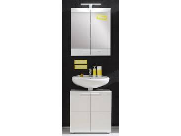 Badmöbel Set Bora Hochglanz weiß 2-teilig 60 cm Spiegelschrank und Waschbeckenunterschrank