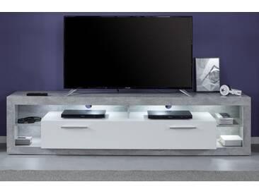 TV-Lowboard Rock in weiß Hochglanz und Stone Design 200 cm