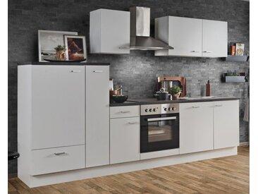 Küchenblock White Classic 300 cm weiß Einbauküche inkl. Herd Dunstabzugshaube Kühlschrank Geschirrspüler und Apothekerschrank