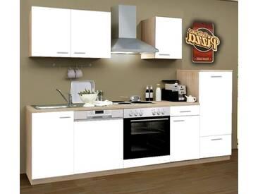 Küchenblock Classic 270 cm weiß matt Einbauküche inkl. E-Geräte + Geschirrspüler