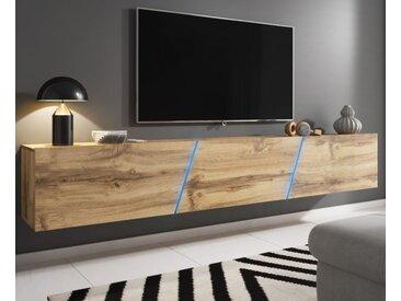 TV-Lowboard Space Eiche Wotan XXL-Board 240 cm Hängend / Stehend mit LED