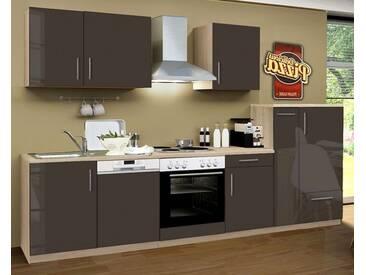 Küchenblock Premium 310 cm Lava grau Hochglanz Einbauküche inkl. E-Geräte + Geschirrspüler