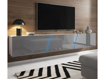 TV-Lowboard Space Hochglanz grau XXL-Board 240 cm hängend / stehend mit LED