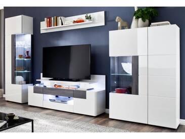 Wohnwand Tokyo Hochglanz weiß und Sardegna grau 332 cm