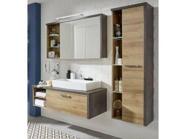 Badmöbel komplett Set Bay mit Waschbecken in Eiche Riviera Honig Beton Design Badkombination 4-teilig 186 cm