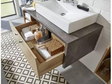 Waschtisch Set Waschbeckenunterschrank mit Waschbecken Eiche Riviera Honig grau Beton Design 120 cm Bay