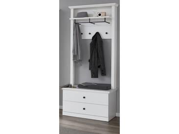 Garderobenset Baxter 2-teilig in weiß Schuhbank und Paneel Breite 81 cm