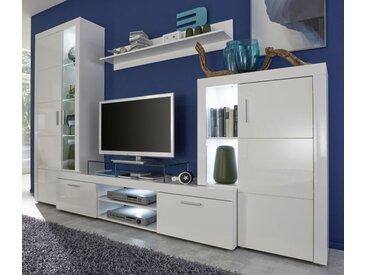 Wohnwand Kito Hochglanz weiß inkl. LED-Beleuchtung 290 cm