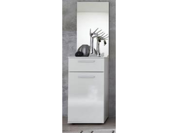 Flurgarderobe Set Modul 2-teilig Kommode und Spiegel in weiß Glanz 40 x 183 cm