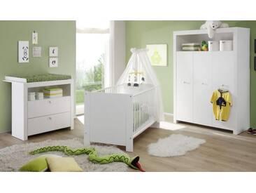 Babyzimmer komplett Set weiß 3-teilig Kleiderschrank Wickelkommode Babybett Olivia