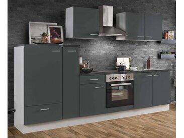 Küchenblock White Classic 300 cm Graphit Einbauküche inkl. Herd Dunstabzugshaube Kühlschrank und Apothekerschrank