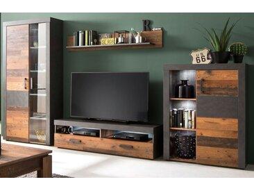 wohnwand indy in used wood shabby und matera grau 343 cm