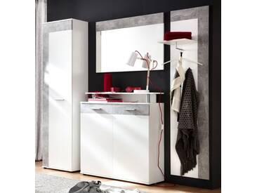 Flurgarderobe Garderobenset 4-teilig in weiß und Beton grau Design 229 cm Jack