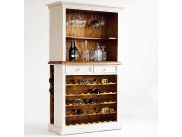MCA, Weinschrank Bodde  Front und Korpus: recycelte Kiefer weiß massiv / honigfarben recycelte Kiefe