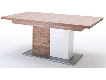 MCA, Säulenesstisch Luzern  Tischplatte: Sterling Oak Melamin Nachbildung Säule: Hochglanz weiß mit