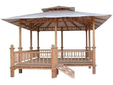 PLOß, Luxus-Pavillon Semarang  Teak natur Dach: creme-weiß Premium-Teak Zertifikat: SVLK