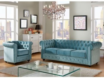 Couchgarnitur 3+1 Samt Chesterfield ANNA - Blau