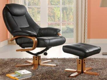 Relaxsessel Fernsehsessel mit Fußhocker DOCIA - Schwarz