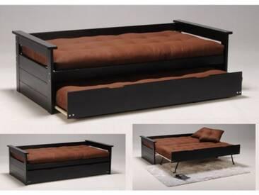 Ausziehbett Massivholz ALFONSO + Lattenrost - 2x90x190cm - Schwarz