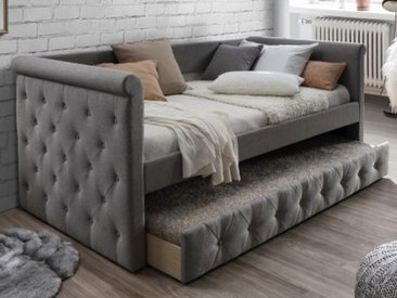 Ausziehbett Stoffsofa LOUISE + Lattenrost - 2x90x190cm - Grau