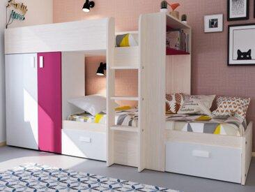 Etagenbett mit Kleiderschrank JULIEN - 2x90x190cm - Eichenholzfarben/Fuchsia