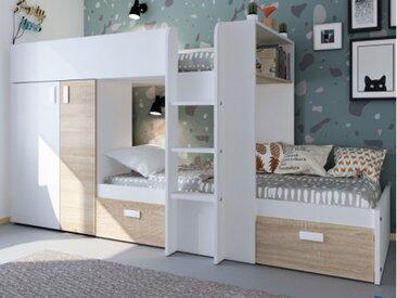 Etagenbett mit Kleiderschrank JULIEN - 2x90x190cm - Weiß/Eichenholzfarben
