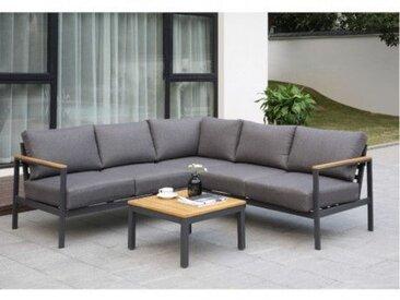 Garten-Sitzgruppe TONGATAPU - Aluminium & Akazie - Ecksofa & Beistelltisch