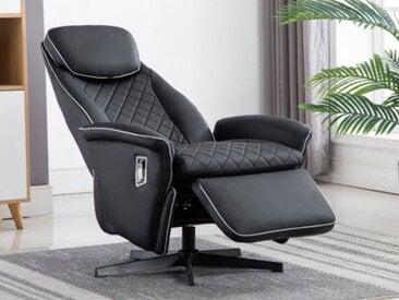 Relaxsessel BAKU - Schwarz mit weißen Ziernähten