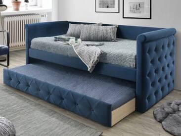Ausziehbett Stoffsofa LOUISE + Lattenrost - 2x90x190cm - Blau