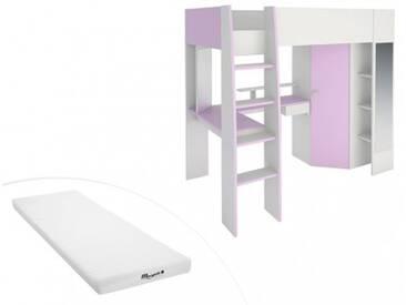 PARISOT Set Hochbett mit Schreibtisch MILA + Kleiderschrank + Lattenrost + Matratze - 90x200cm