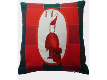 ZAWOH Kissen mit Weihnachtsmann Karo 40 x 40 cm