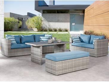 Gartenmöbel Lounge-Gruppe Curacao 4-tlg. Warm-Grey/Blau