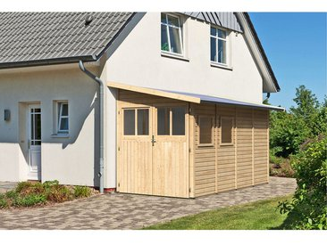 Karibu Holz-Gartenhaus/Gerätehaus Kristiansund 4 Natur B x T: 178 cm x 352 cm