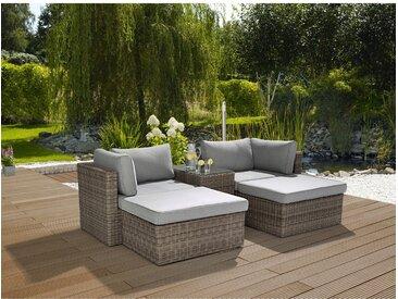 Lounge-Set Olea 5-teilig aus Polyrattan Grau