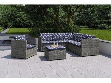 Lounge-Set Bagley 4-teilig aus Polyrattan Grau
