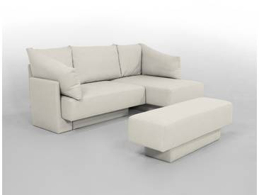 Kleines Ecksofa als Daybed oder Gästebett, flexibel zu stellen, Schlaffunktion, beige – FEYDOM CHOICE 1