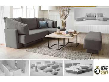 Modulares Sofa mit Schlaffunktion, flexibel zu stellen und erweiterbar, grauer Webstoff – FEYDOM CHOICE 1