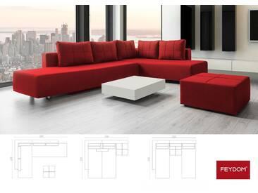 Ecksofa mit Bettfunktion, Veloursstoff Rot, Gästebett mit Liegeflächen 200x160cm oder 2x 200x80cm
