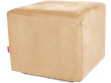Sitzwürfel Hocker Würfelform mit Velourbezug cappuccino beige - Höhe 38cm Breite circa 43cm Tiefe circa 43cm, gute Verarbeitung