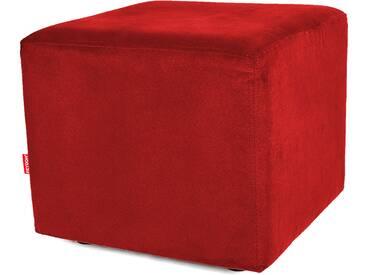 Sitzwürfel Hocker Würfelform mit Velourbezug rot - Höhe 38cm Breite circa 43cm Tiefe circa 43cm, gute Verarbeitung