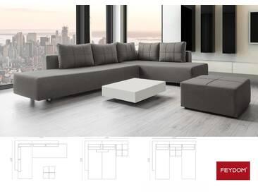 Ecksofa mit Schlaffunktion mittleres grau, Schlafsofa, Doppelbett, Verwandlungssofa mit Liegeflächen 200x160cm oder 2x 200x80cm